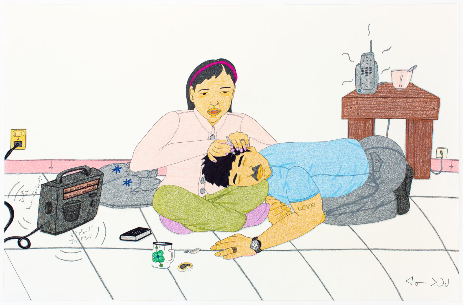 Annie Pootoogook - Composition (Plucking the Grey Hair)