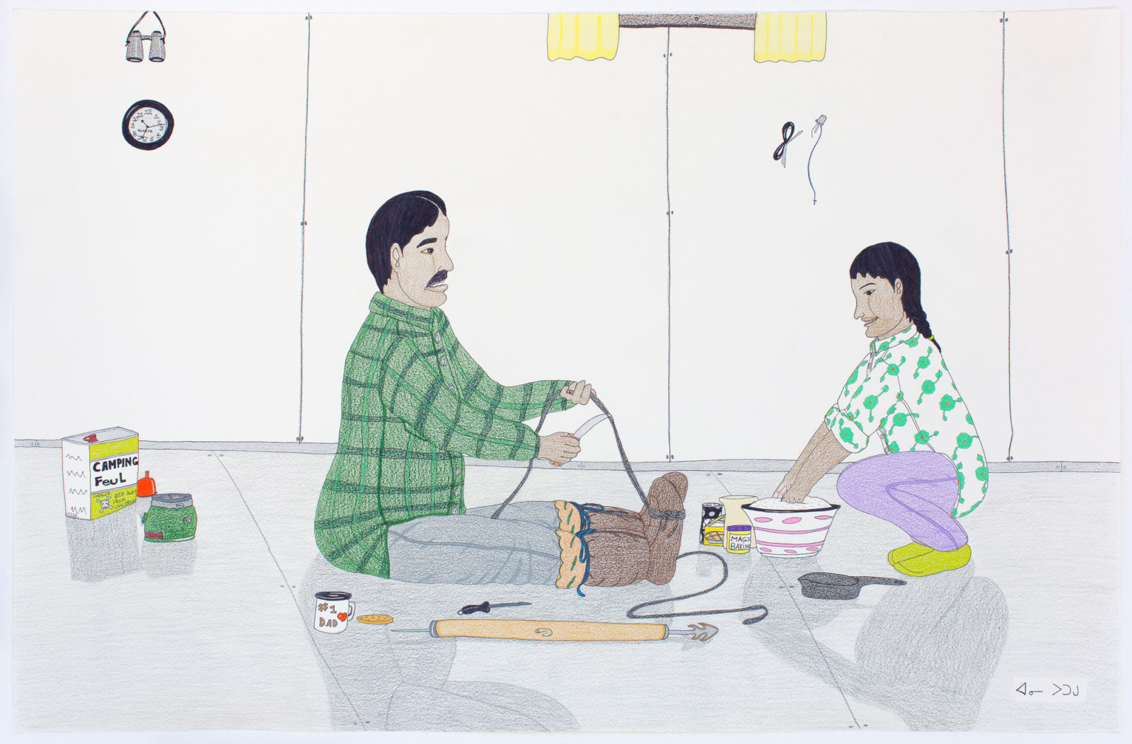 Annie Pootoogook - untitled (making rope and bannock)