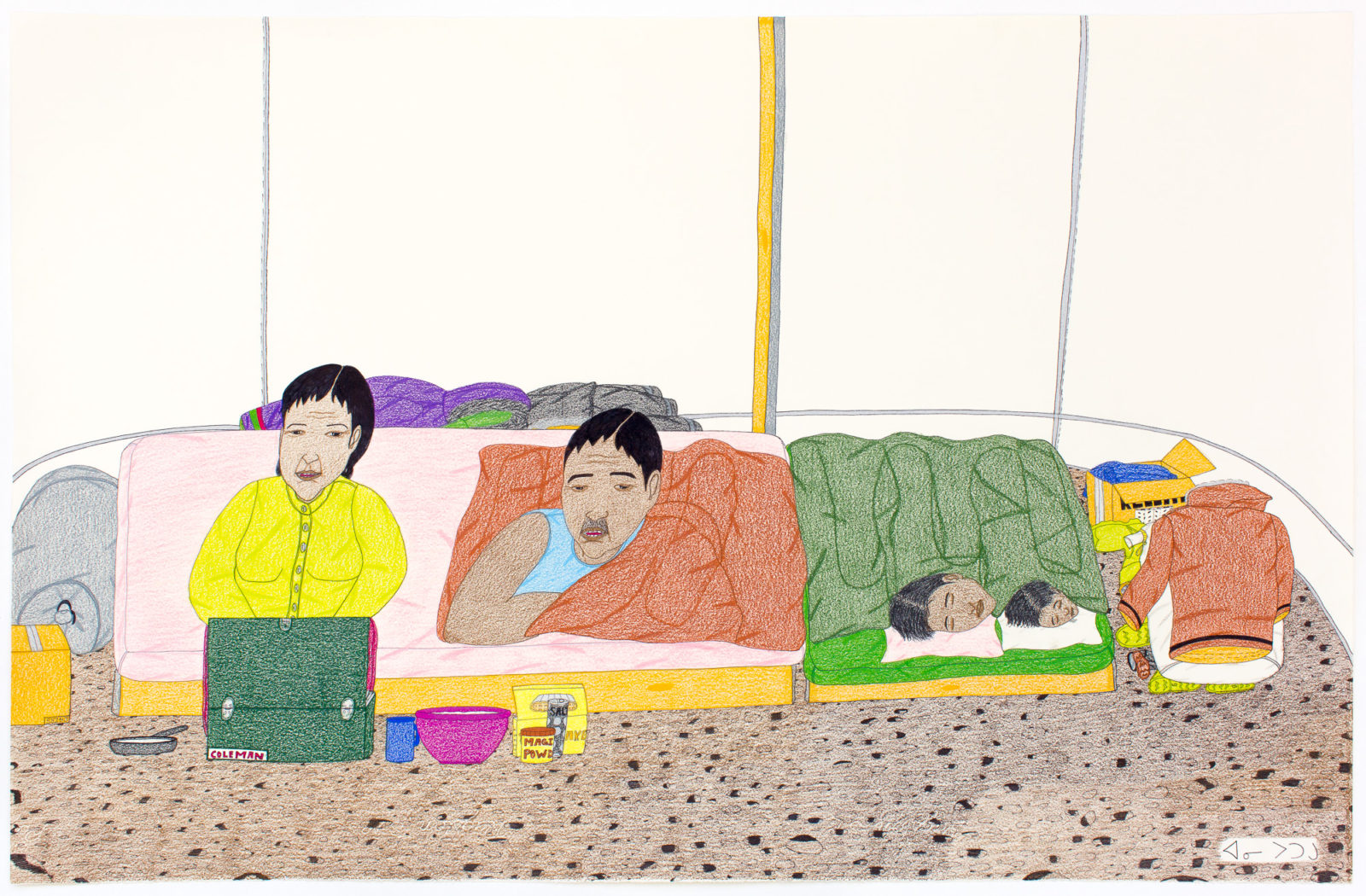 Annie Pootoogook - Family In Tent