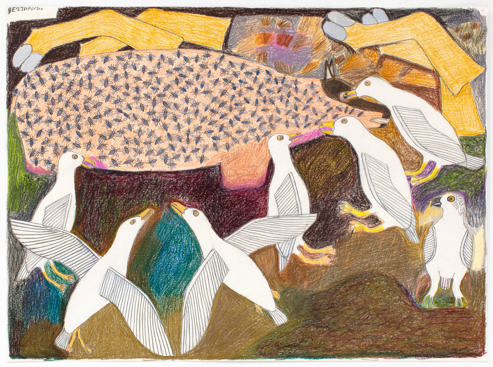 Janet Kigusiuq - untitled (birds and caribou)