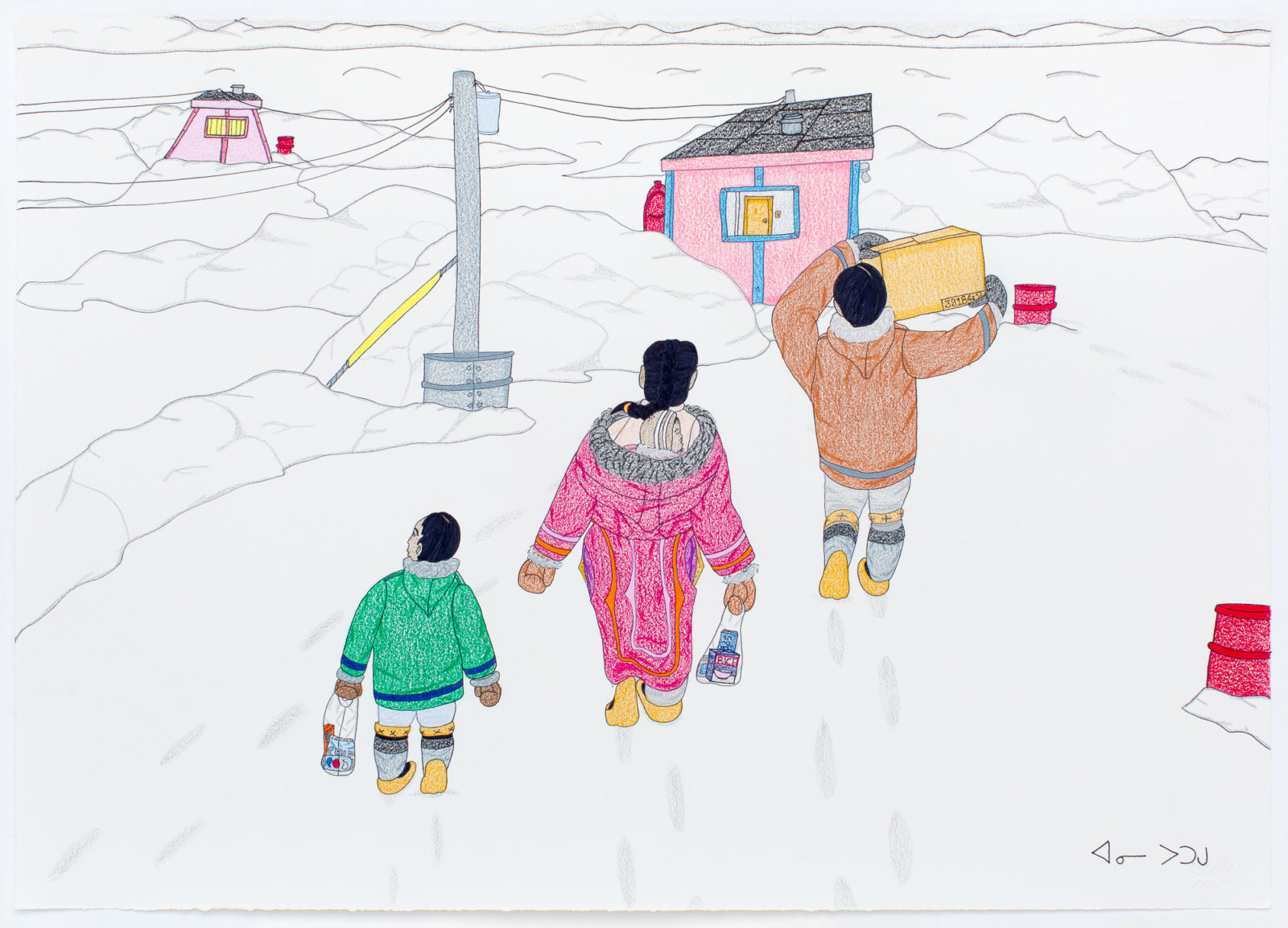 Annie Pootoogook - Family Taking Supplies Home