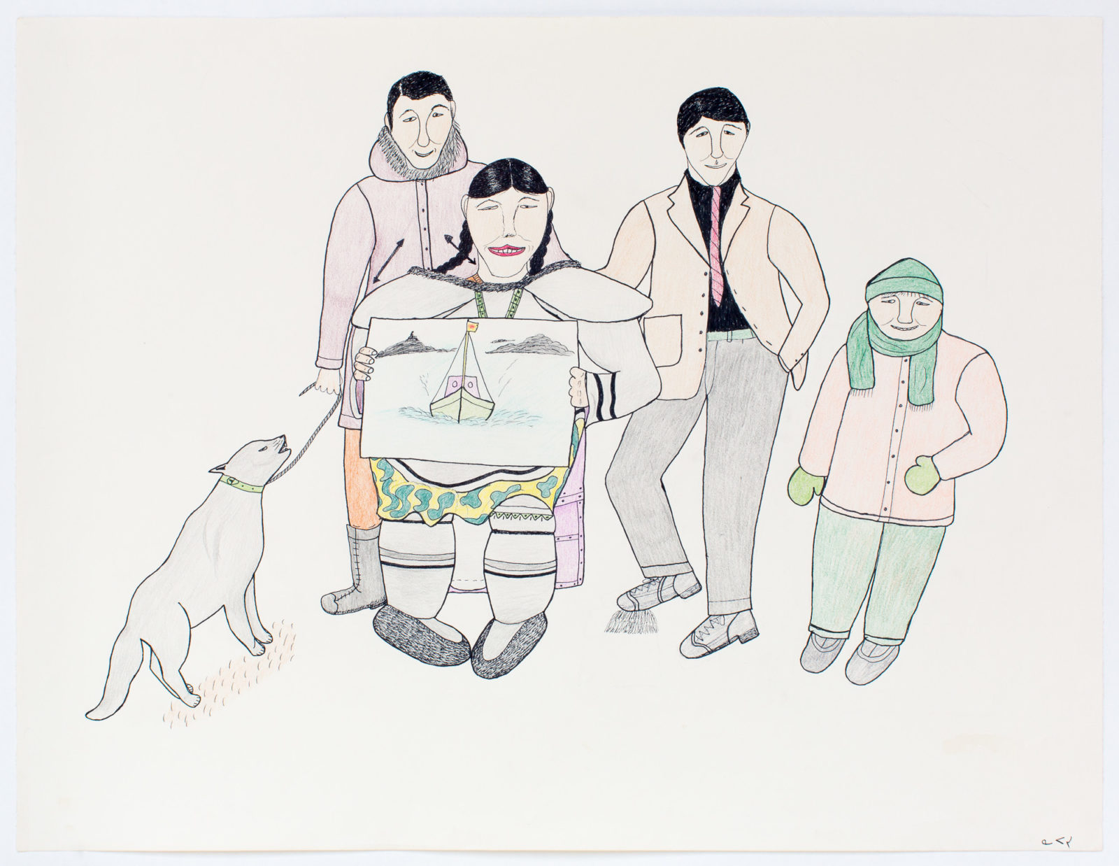 Napatchie Pootoogook - untitled (artist with drawing)