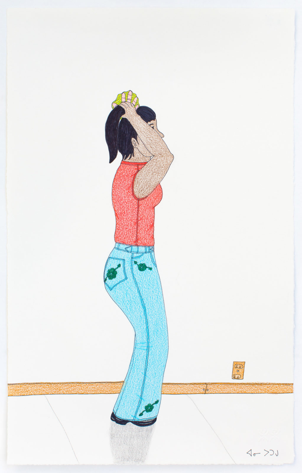 Annie Pootoogook - untitled (making pony tail)
