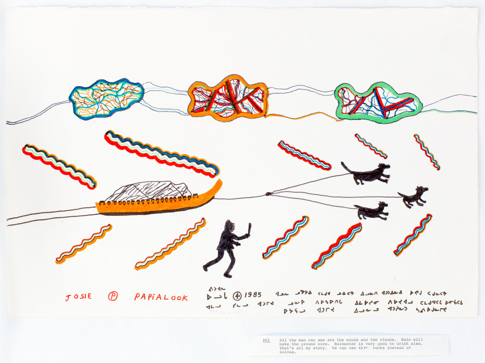 Josie Pamiutu Papialuk  - untitled (dog team, man and wind)