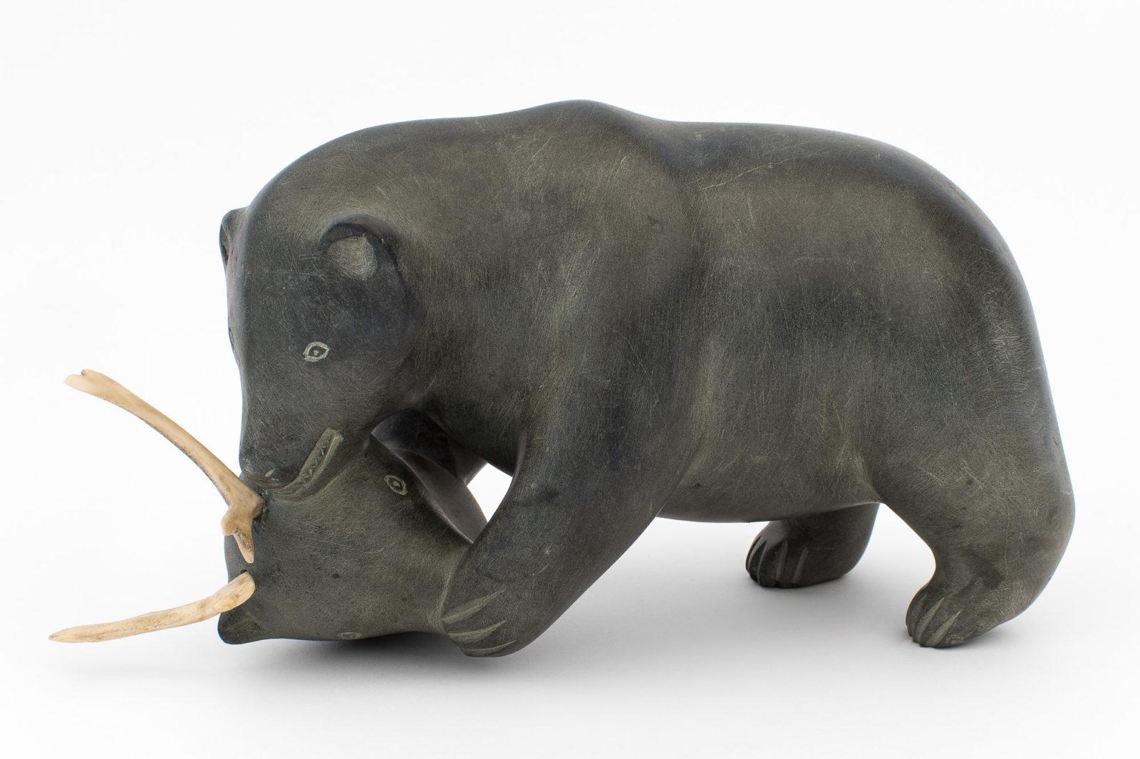 Mathew Aqigaaq - untitled (bear eating caribou)