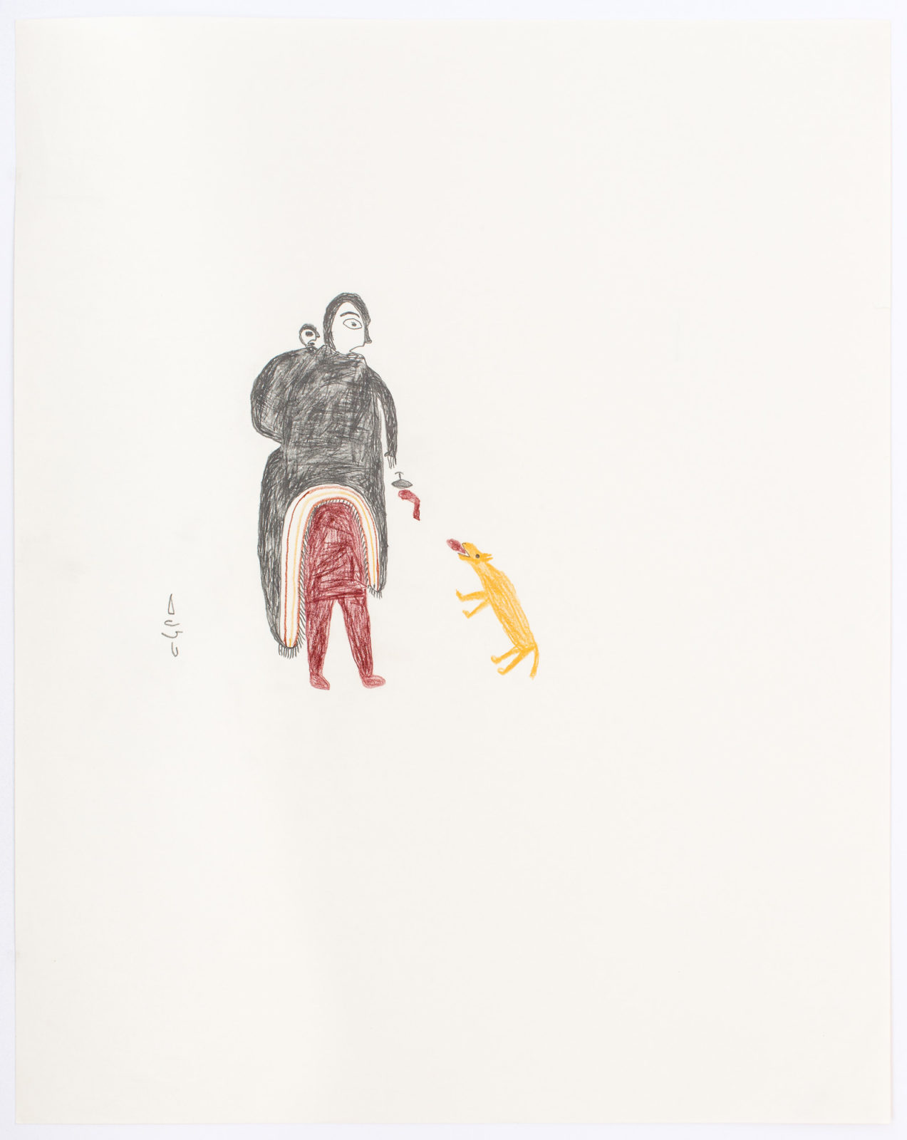 Luke Anguhadluq - untitled (woman feeding dog)