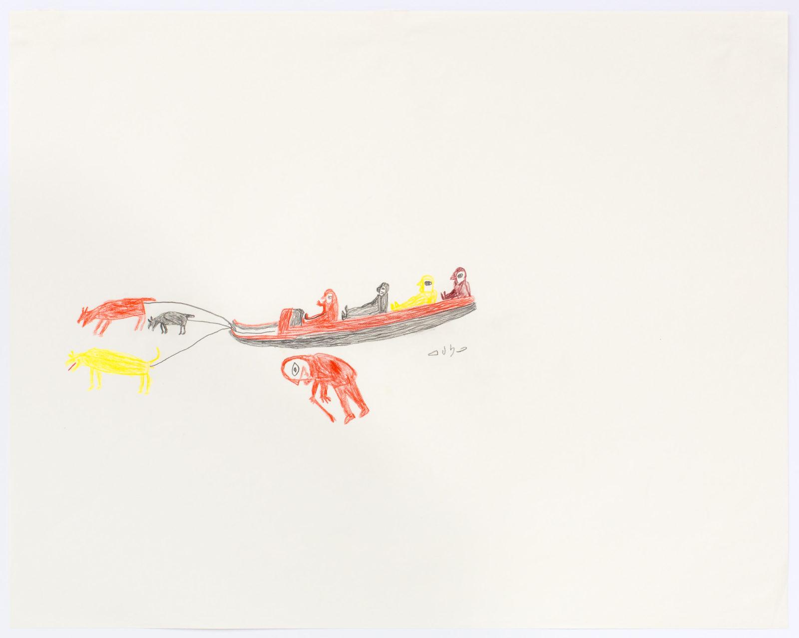 Luke Anguhadluq - untitled (man and figures on sled)