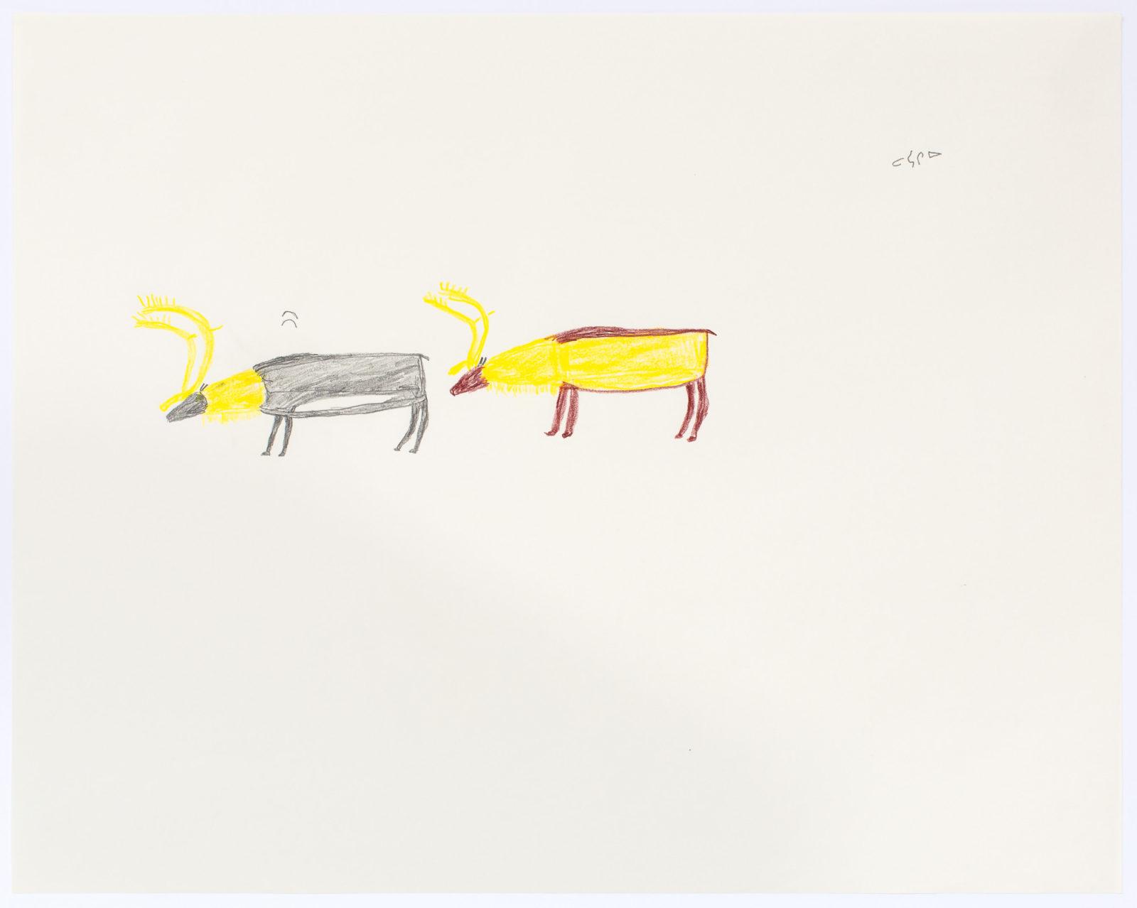Luke Anguhadluq - untitled (two caribou)