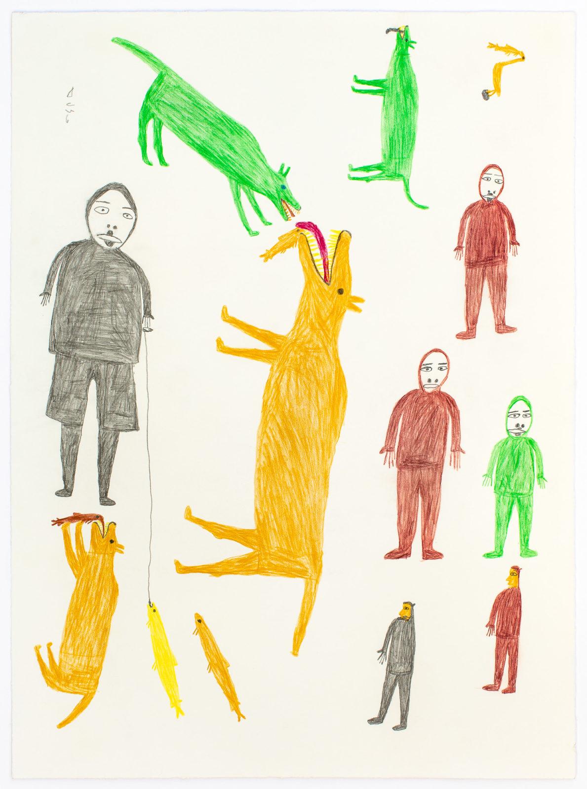 Luke Anguhadluq - untitled (figures and dogs)