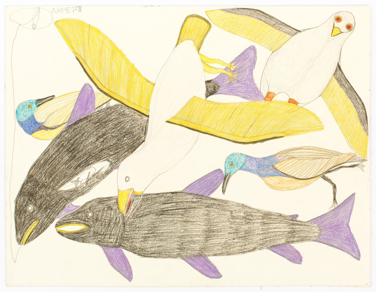 Janet Kigusiuq - untitled (birds and fish)