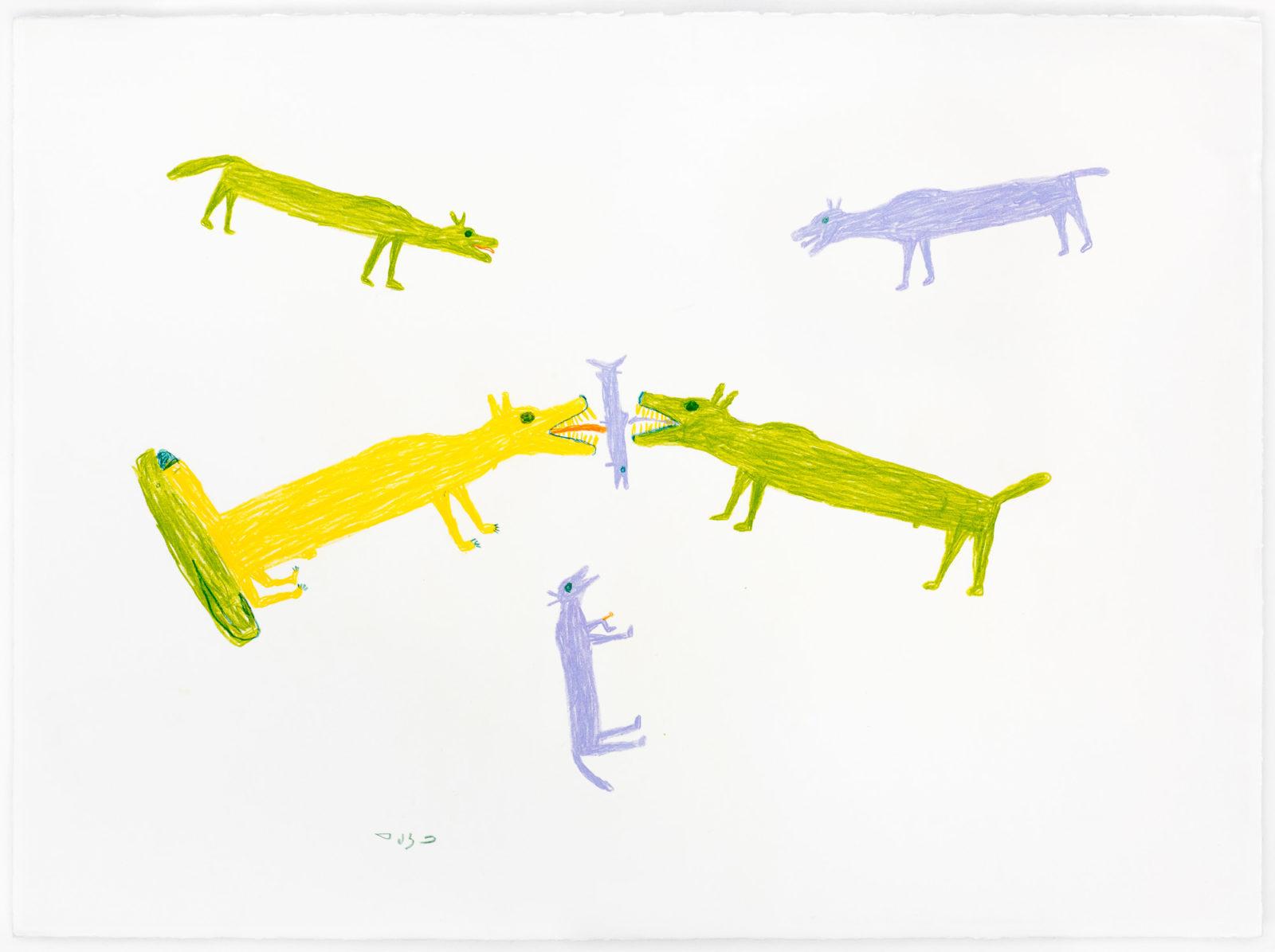 Luke Anguhadluq - Dogs Eating Fish