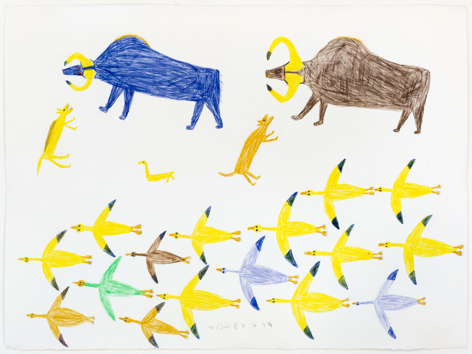 Luke Anguhadluq - untitled (birds and Muskoxen)