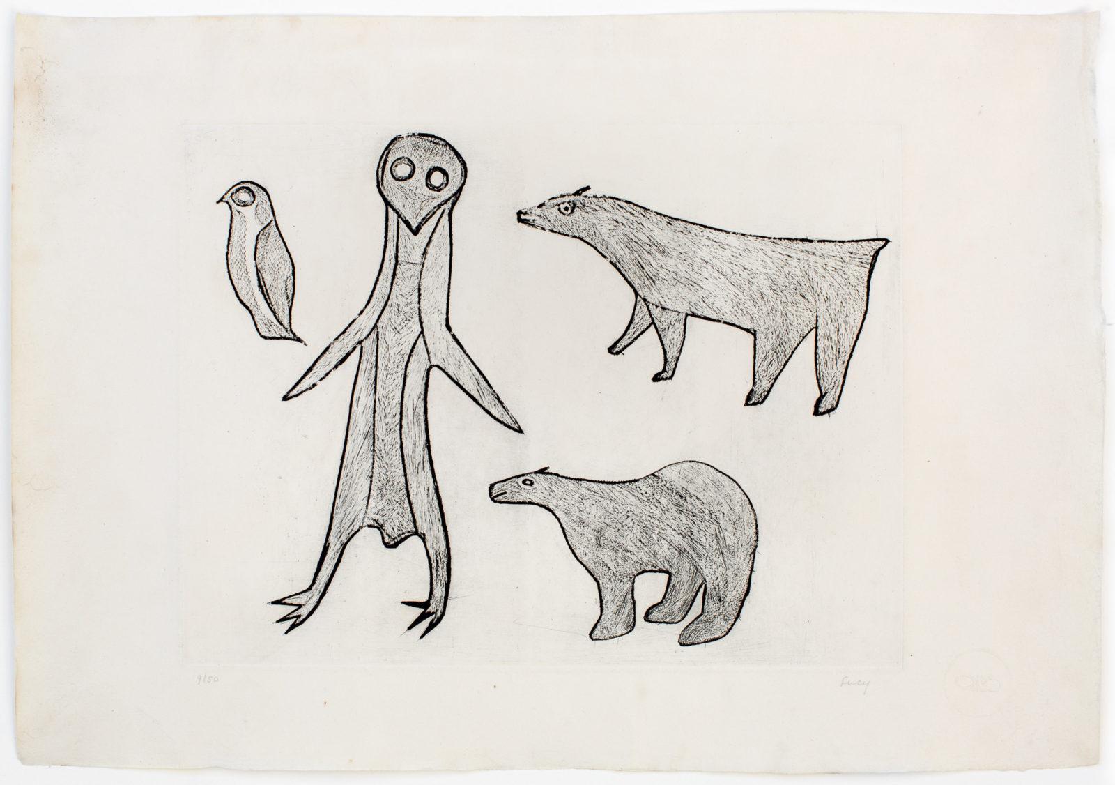 Lucy Quinnauyuak - untitled (animals)