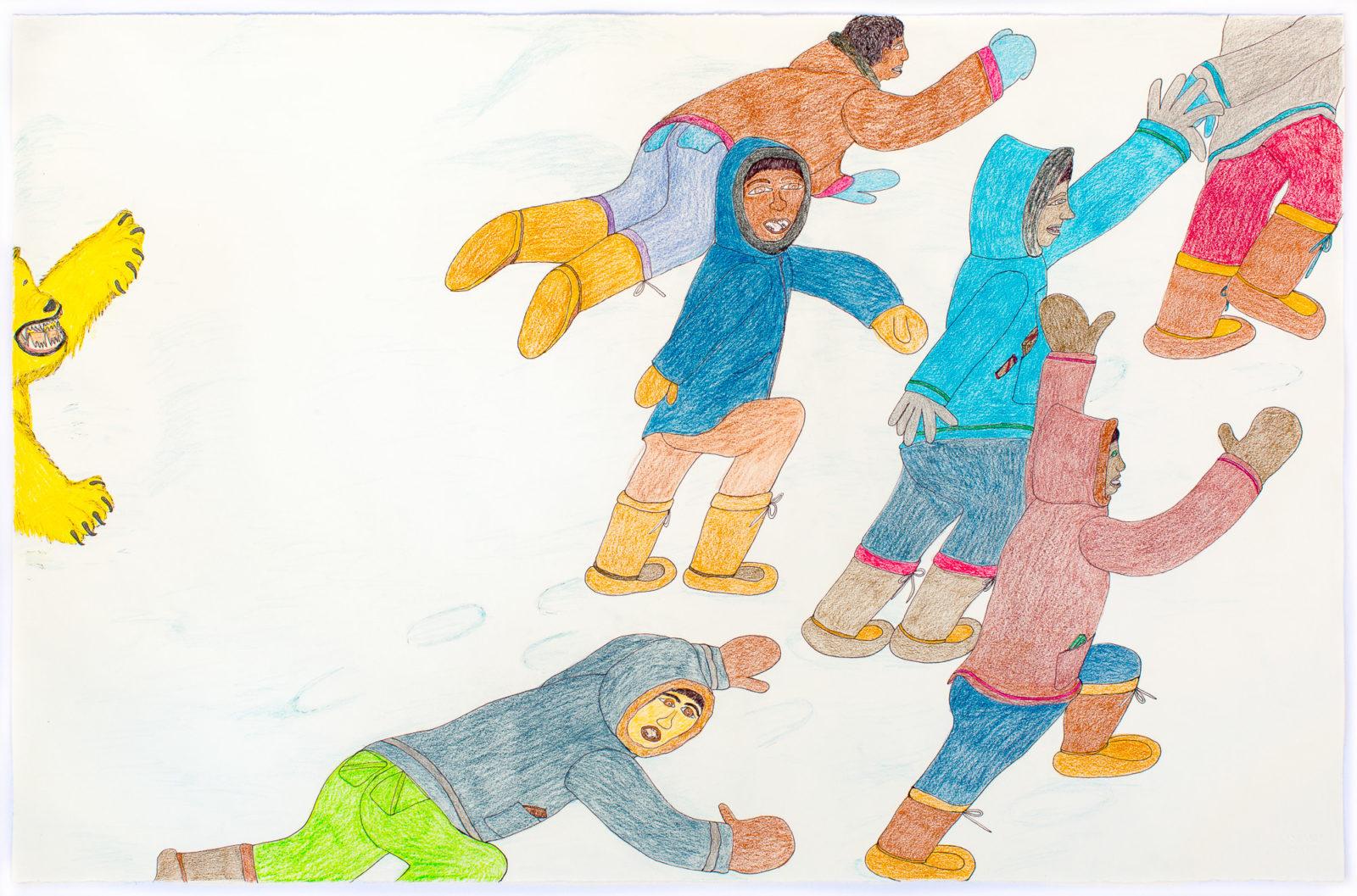 Shuvinai Ashoona - untitled (people fleeing polar bear)