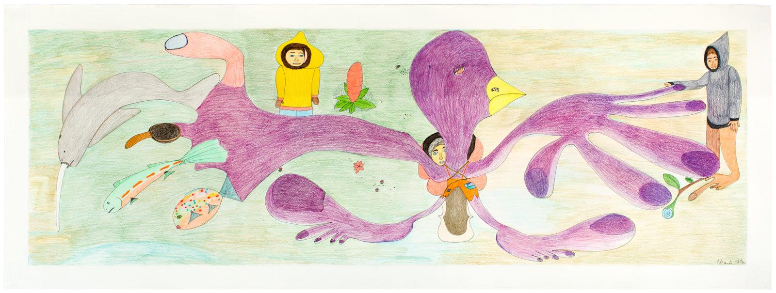Shuvinai Ashoona - Composition (Purple Bird Transformation)