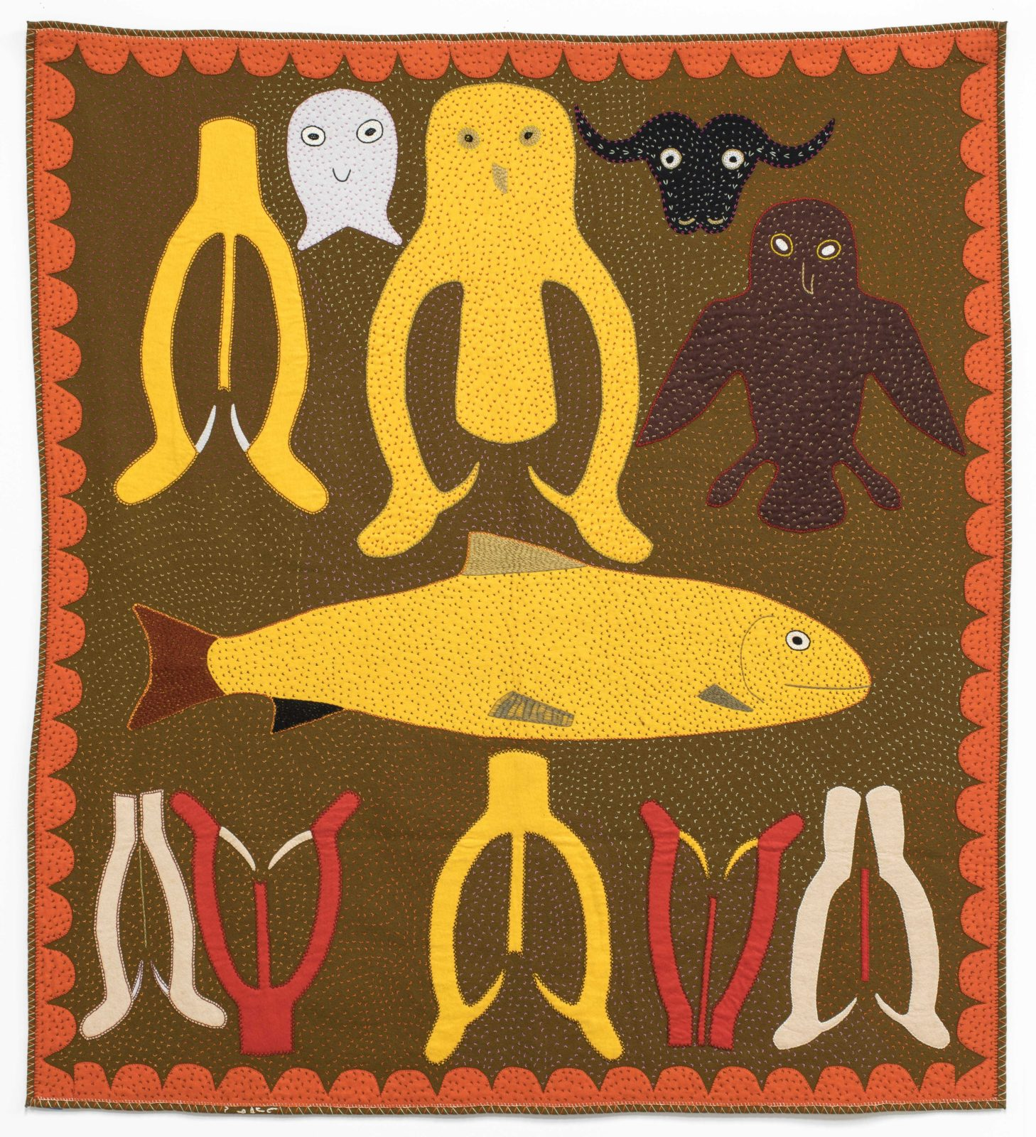 Ruth Qaulluaryuk - untitled (kakivaks, owl, fish and muskox)