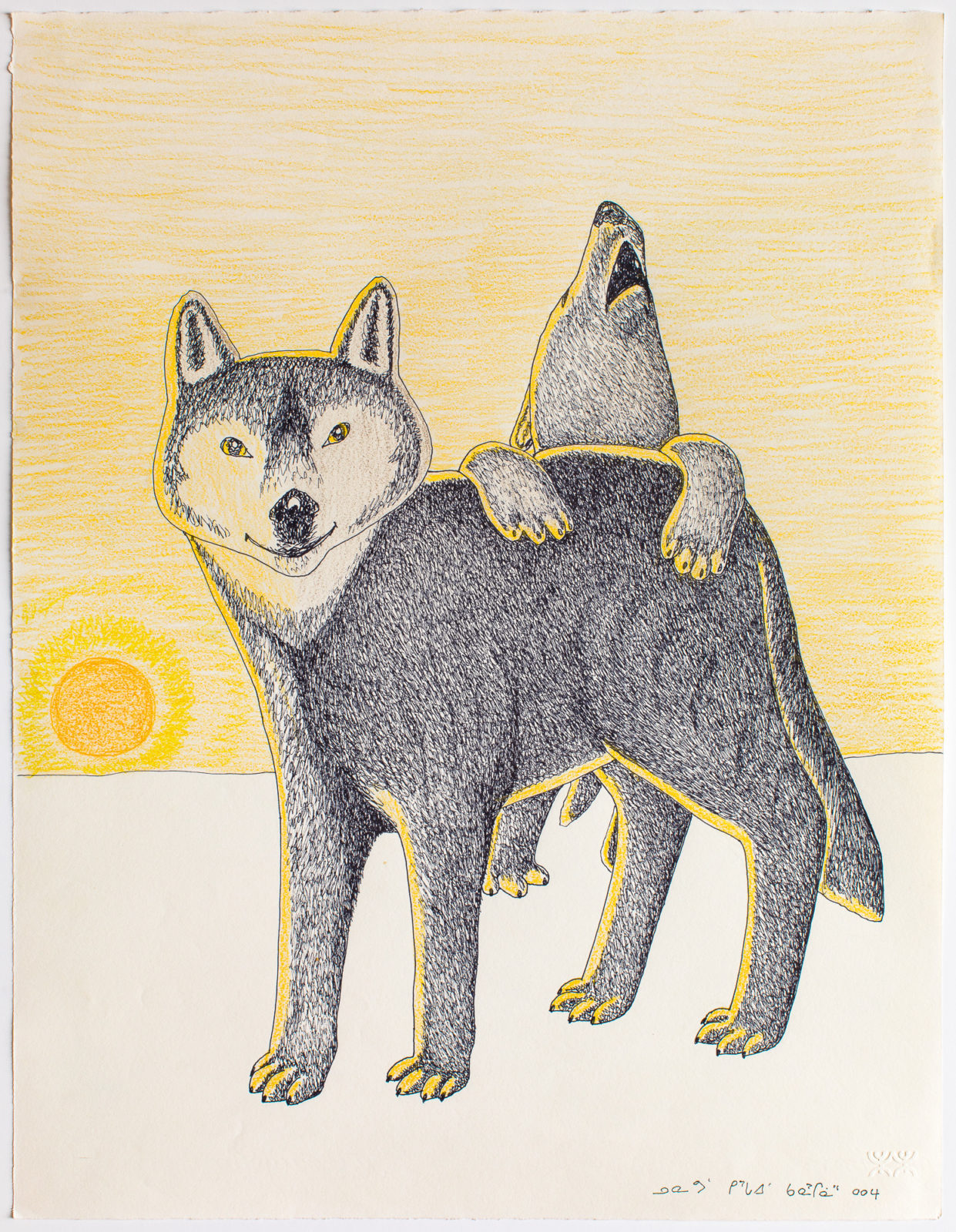 Kananginak Pootoogook - untitled (wolf and howling bear)