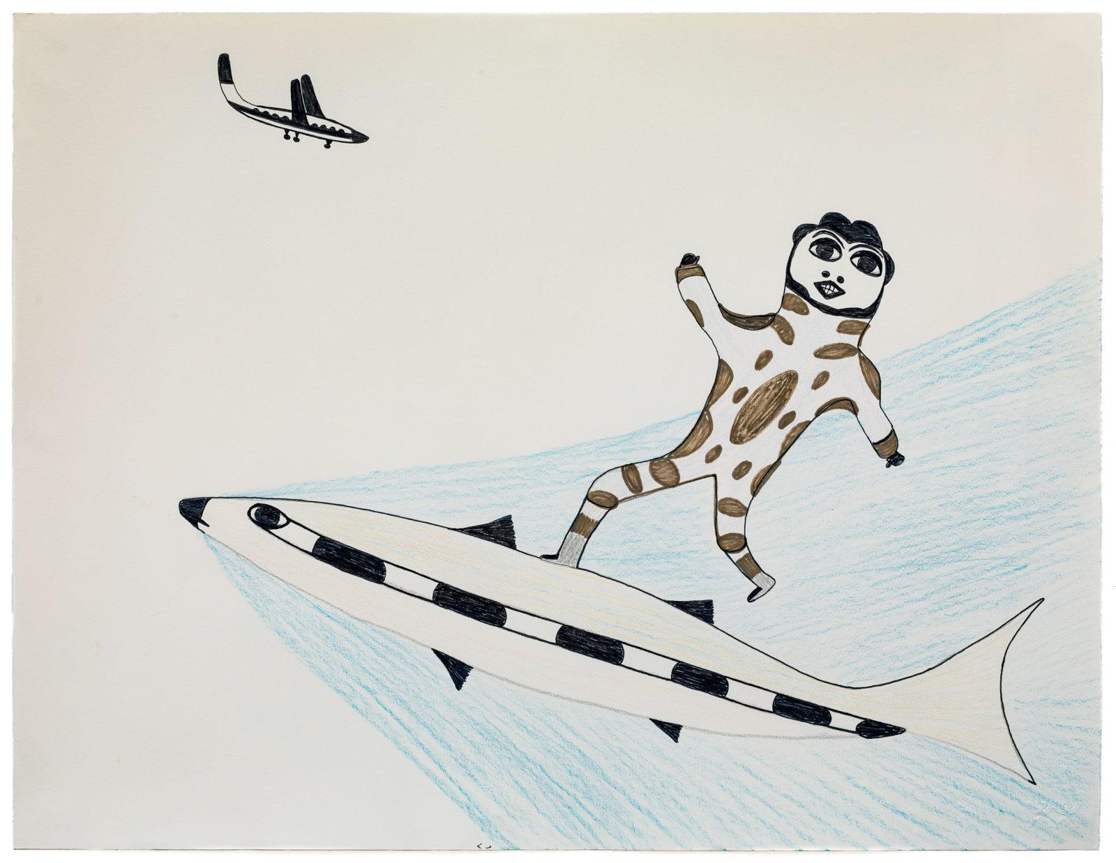 Pudlo Pudlat - untitled (man surfing on fish)