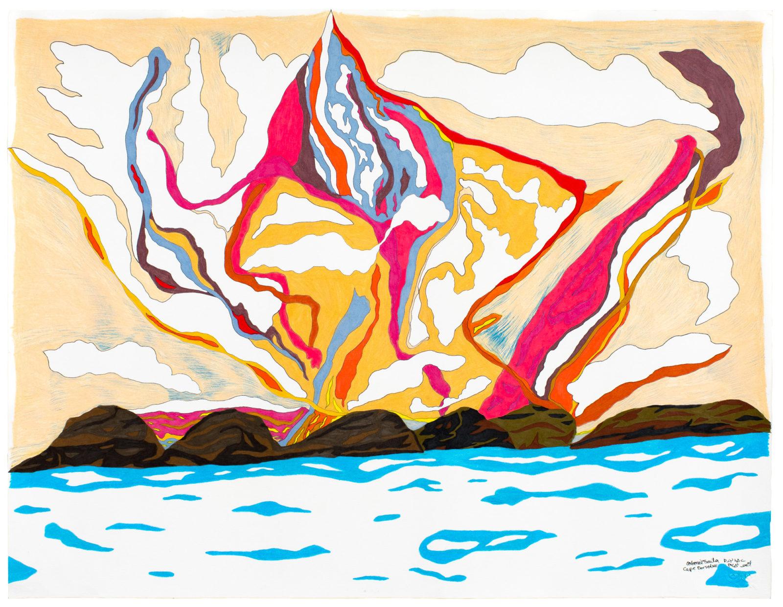 Ooloosie Saila - untitled (pink landscape)