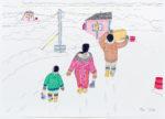 Annie Pootoogook - Family Taking Supplies Home