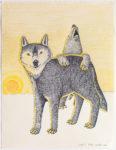 Kananginak Pootoogook - untitled (wolf and howling bear)